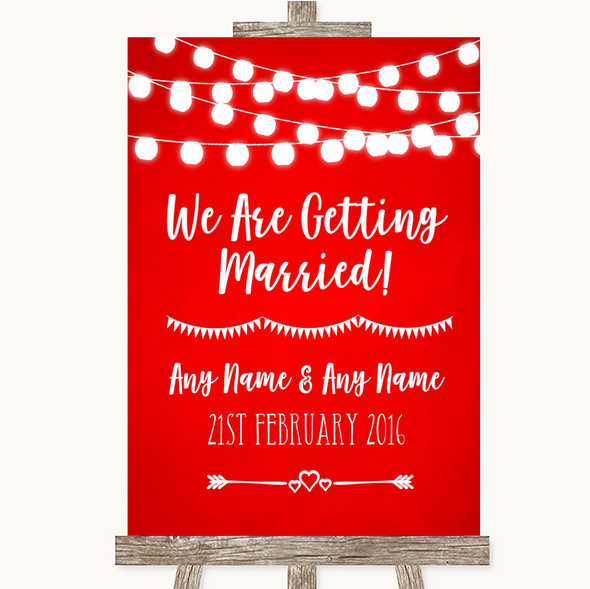 Red Watercolour Lights We Are Getting Married Personalised Wedding Sign