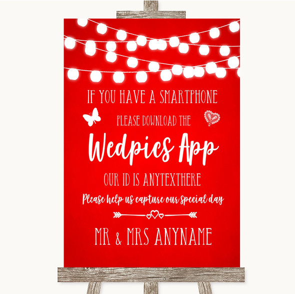 Red Watercolour Lights Wedpics App Photos Personalised Wedding Sign