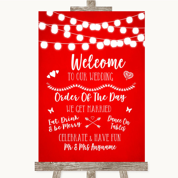 Red Watercolour Lights Welcome Order Of The Day Personalised Wedding Sign