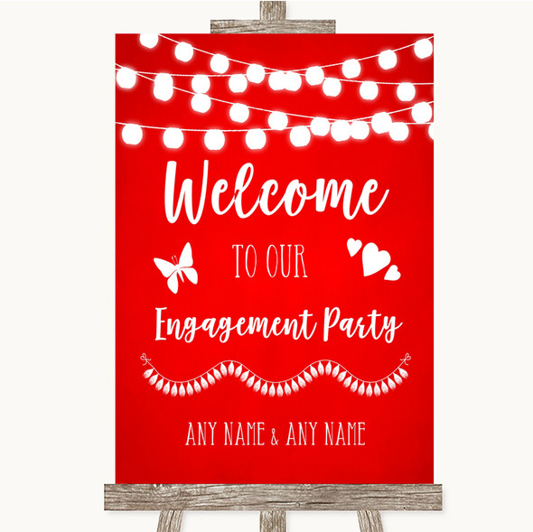 Red Watercolour Lights Welcome To Our Engagement Party Personalised Wedding Sign