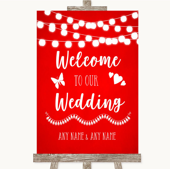 Red Watercolour Lights Welcome To Our Wedding Personalised Wedding Sign