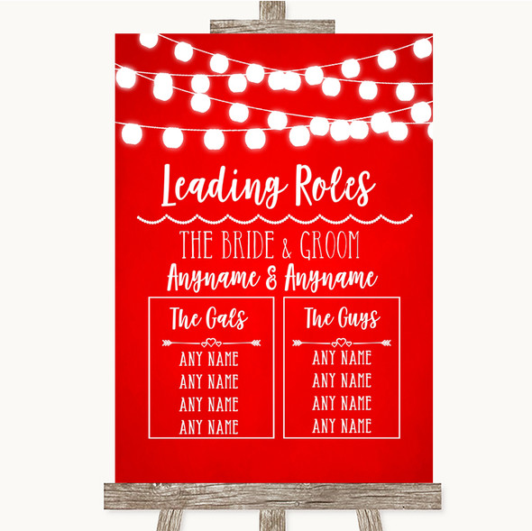 Red Watercolour Lights Who's Who Leading Roles Personalised Wedding Sign