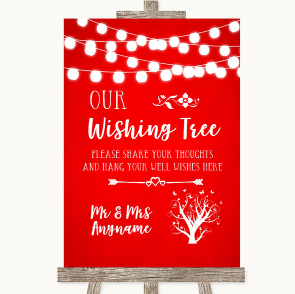 Red Watercolour Lights Wishing Tree Personalised Wedding Sign