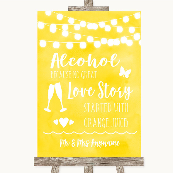 Yellow Watercolour Lights Alcohol Bar Love Story Personalised Wedding Sign