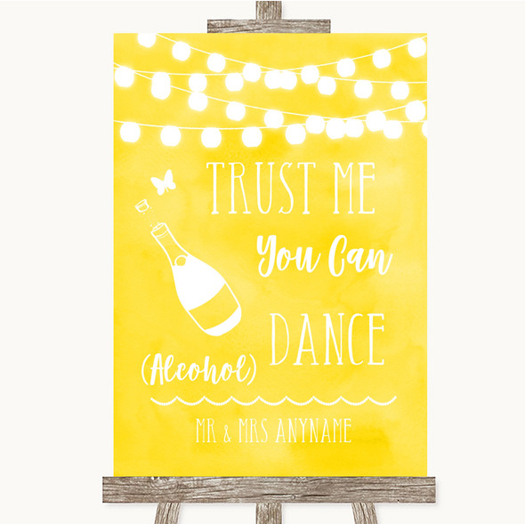 Yellow Watercolour Lights Alcohol Says You Can Dance Personalised Wedding Sign