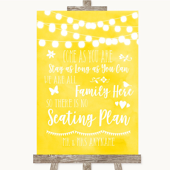 Yellow Watercolour Lights All Family No Seating Plan Personalised Wedding Sign