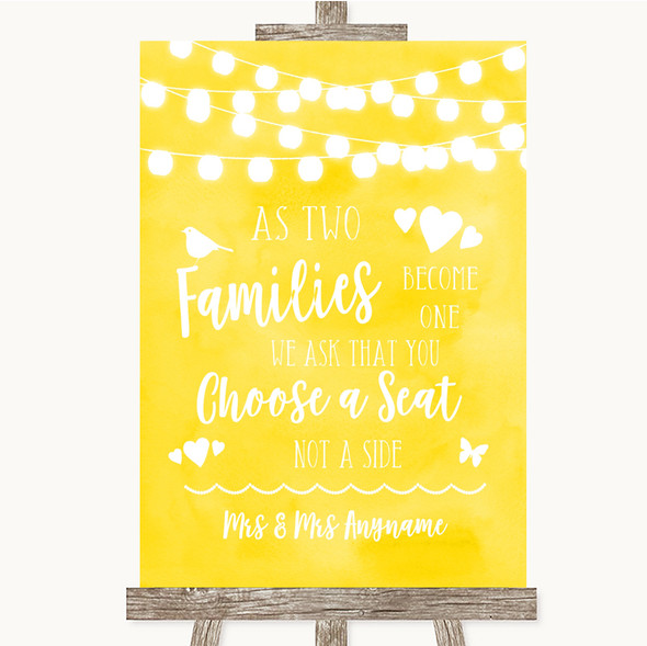 Yellow Watercolour Lights As Families Become One Seating Plan Wedding Sign