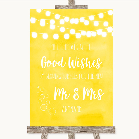 Yellow Watercolour Lights Blow Bubbles Personalised Wedding Sign