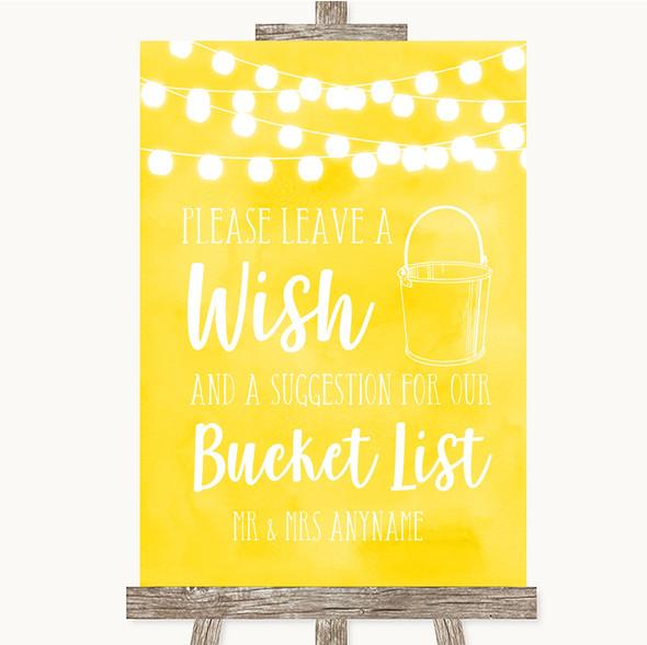 Yellow Watercolour Lights Bucket List Personalised Wedding Sign