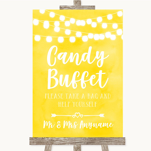 Yellow Watercolour Lights Candy Buffet Personalised Wedding Sign