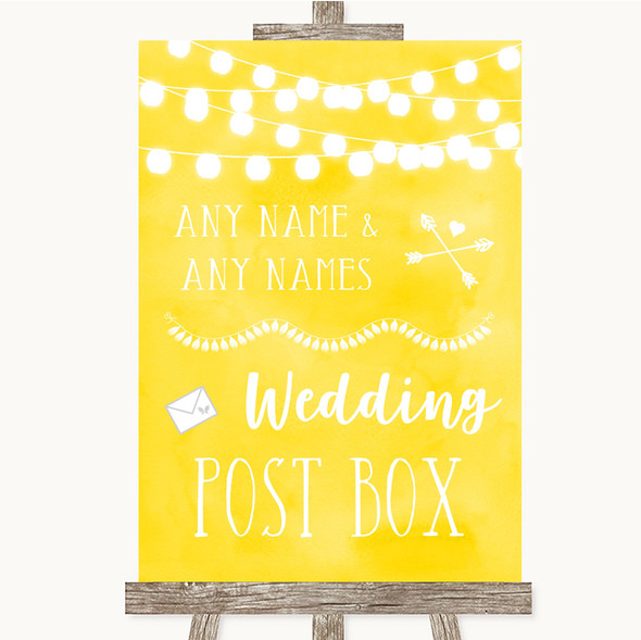 Yellow Watercolour Lights Card Post Box Personalised Wedding Sign