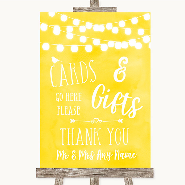 Yellow Watercolour Lights Cards & Gifts Table Personalised Wedding Sign