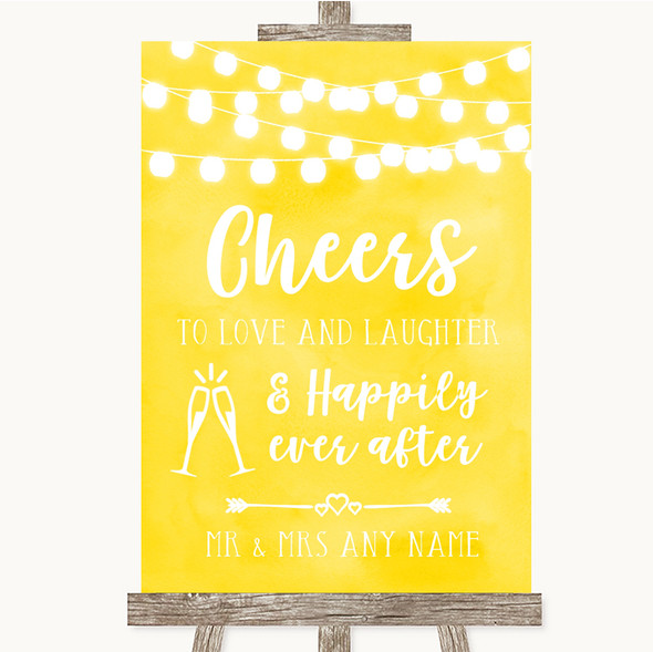 Yellow Watercolour Lights Cheers To Love Personalised Wedding Sign