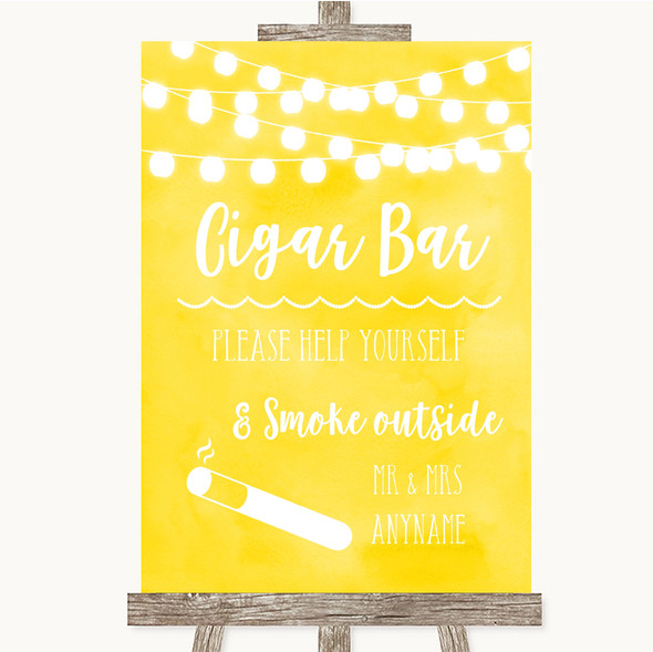 Yellow Watercolour Lights Cigar Bar Personalised Wedding Sign