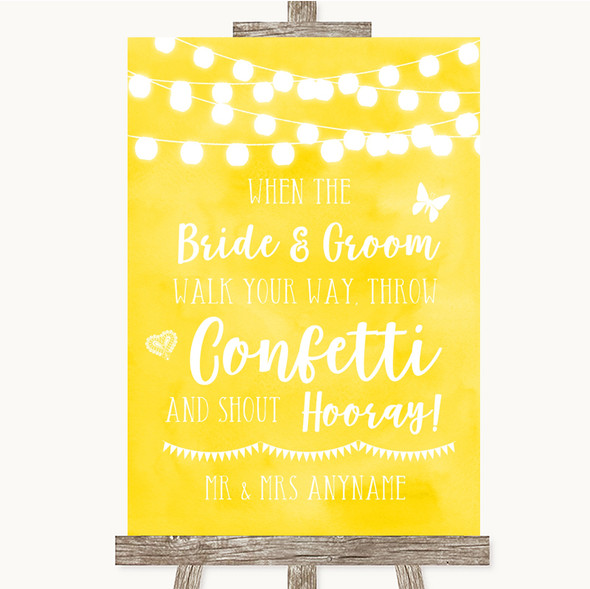 Yellow Watercolour Lights Confetti Personalised Wedding Sign