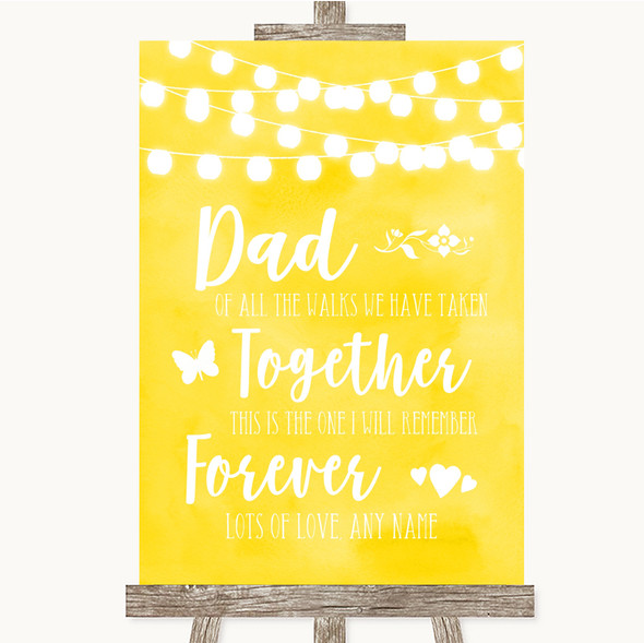 Yellow Watercolour Lights Dad Walk Down The Aisle Personalised Wedding Sign