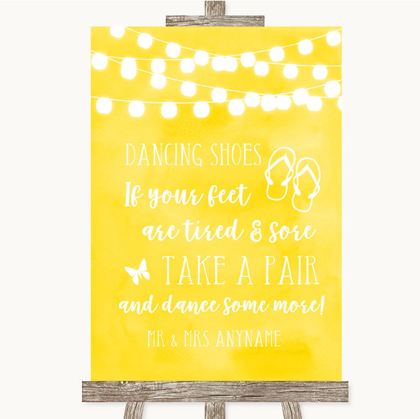 Yellow Watercolour Lights Dancing Shoes Flip Flops Personalised Wedding Sign