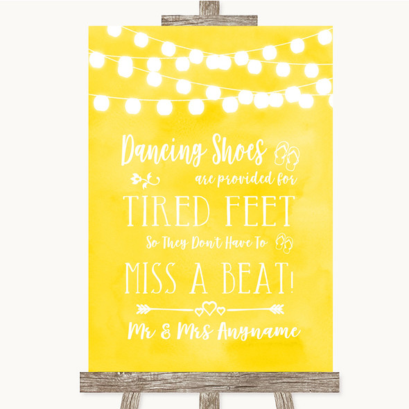 Yellow Watercolour Lights Dancing Shoes Flip-Flop Tired Feet Wedding Sign
