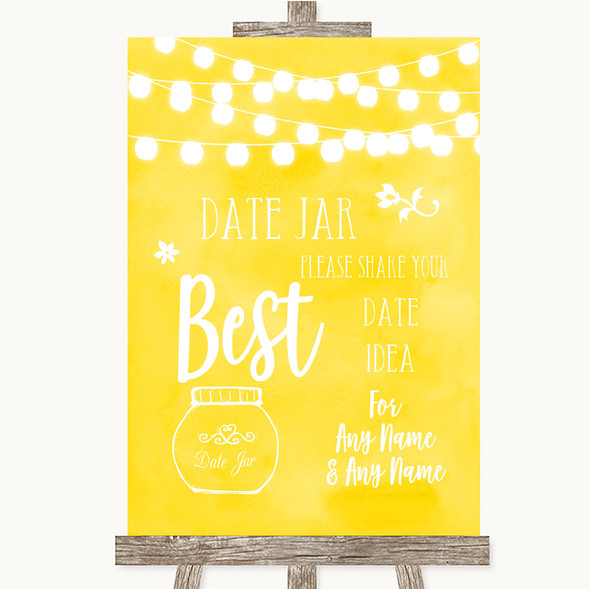 Yellow Watercolour Lights Date Jar Guestbook Personalised Wedding Sign