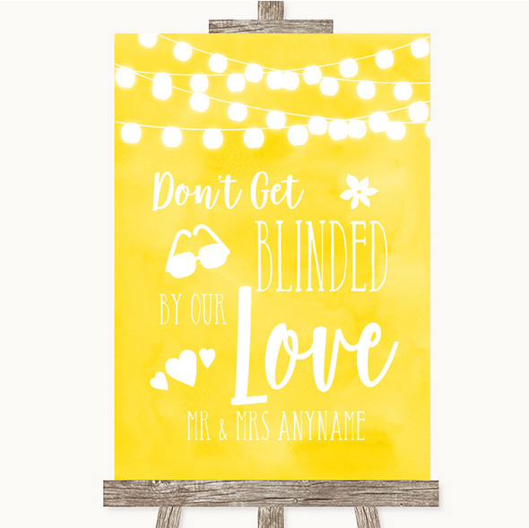 Yellow Watercolour Lights Don't Be Blinded Sunglasses Personalised Wedding Sign