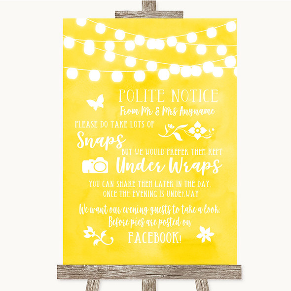 Yellow Watercolour Lights Don't Post Photos Facebook Personalised Wedding Sign