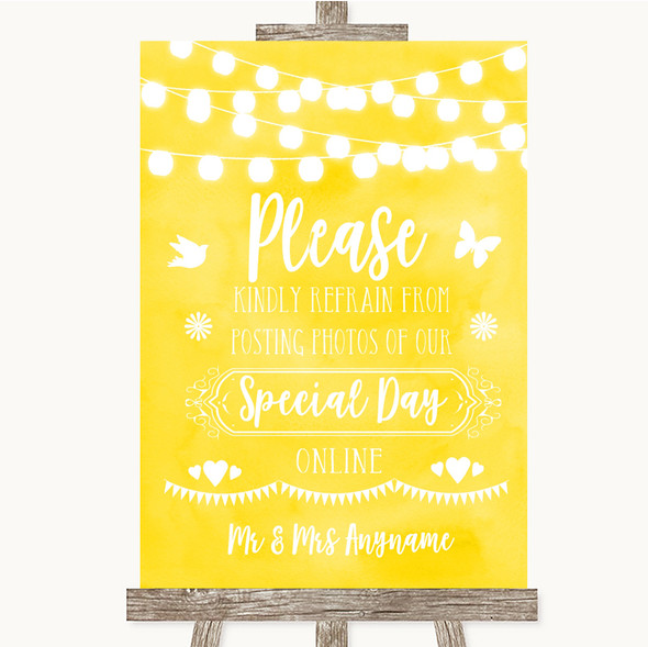 Yellow Watercolour Lights Don't Post Photos Online Social Media Wedding Sign