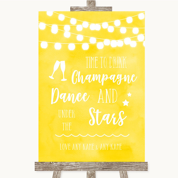 Yellow Watercolour Lights Drink Champagne Dance Stars Personalised Wedding Sign