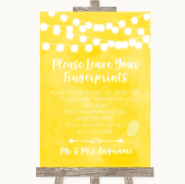 Yellow Watercolour Lights Fingerprint Guestbook Personalised Wedding Sign