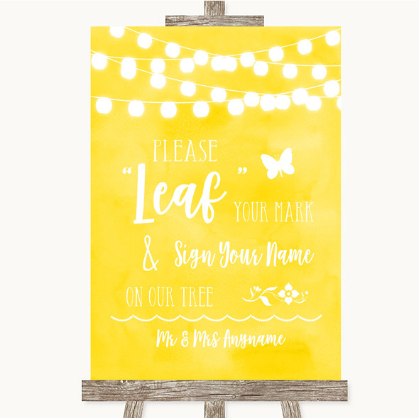 Yellow Watercolour Lights Fingerprint Tree Instructions Wedding Sign