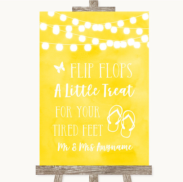 Yellow Watercolour Lights Flip Flops Dancing Shoes Personalised Wedding Sign