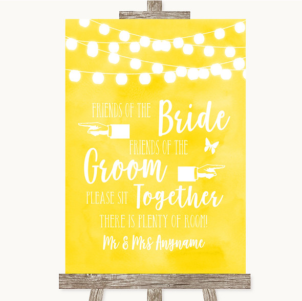Yellow Watercolour Lights Friends Of The Bride Groom Seating Wedding Sign