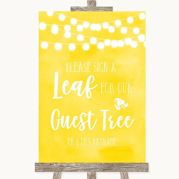 Yellow Watercolour Lights Guest Tree Leaf Personalised Wedding Sign