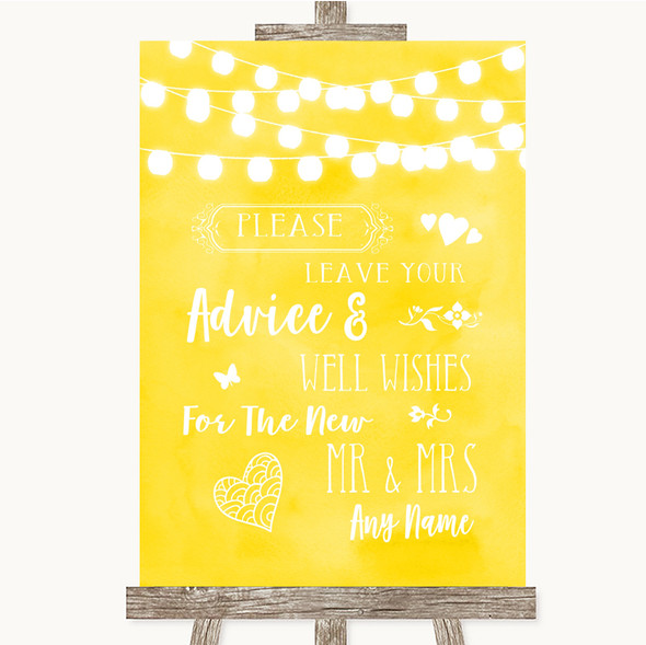 Yellow Watercolour Lights Guestbook Advice & Wishes Mr & Mrs Wedding Sign