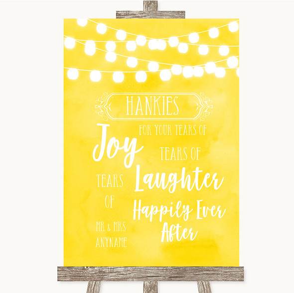 Yellow Watercolour Lights Hankies And Tissues Personalised Wedding Sign