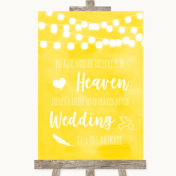 Yellow Watercolour Lights Heaven Loved Ones Personalised Wedding Sign