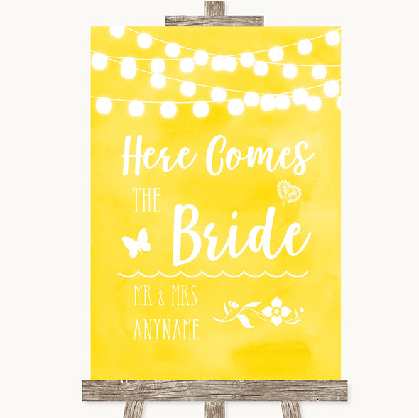 Yellow Watercolour Lights Here Comes Bride Aisle Personalised Wedding Sign