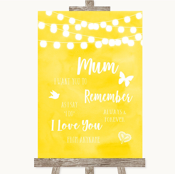 Yellow Watercolour Lights I Love You Message For Mum Personalised Wedding Sign