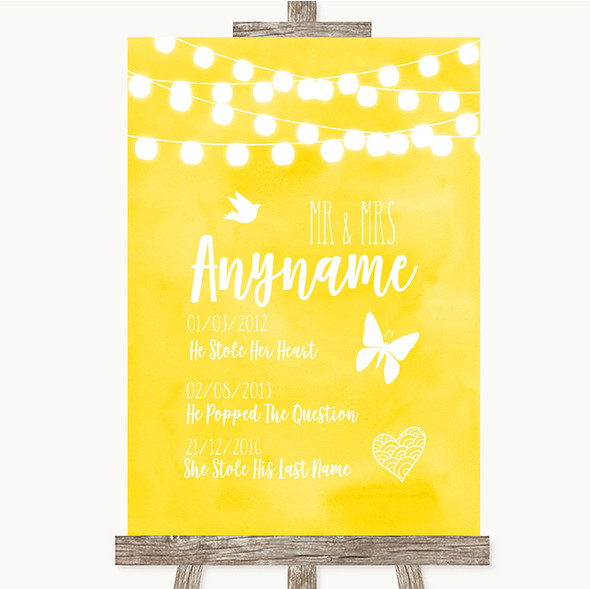 Yellow Watercolour Lights Important Special Dates Personalised Wedding Sign