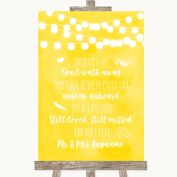 Yellow Watercolour Lights In Loving Memory Personalised Wedding Sign