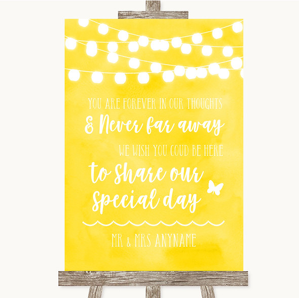 Yellow Watercolour Lights In Our Thoughts Personalised Wedding Sign