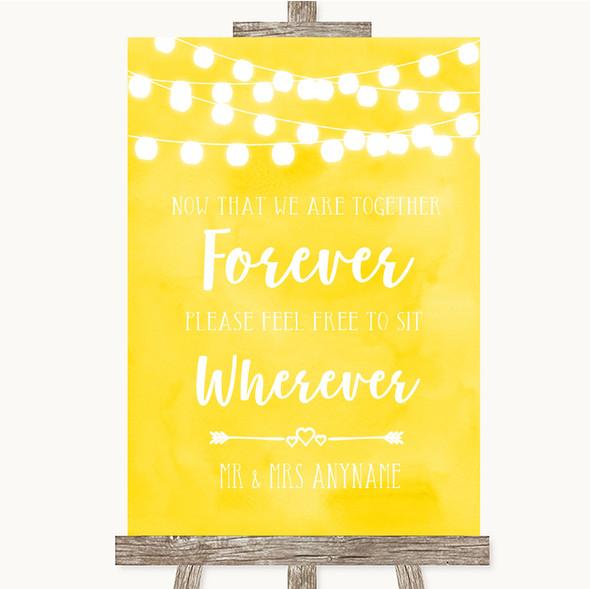 Yellow Watercolour Lights Informal No Seating Plan Personalised Wedding Sign