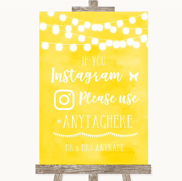 Yellow Watercolour Lights Instagram Hashtag Personalised Wedding Sign