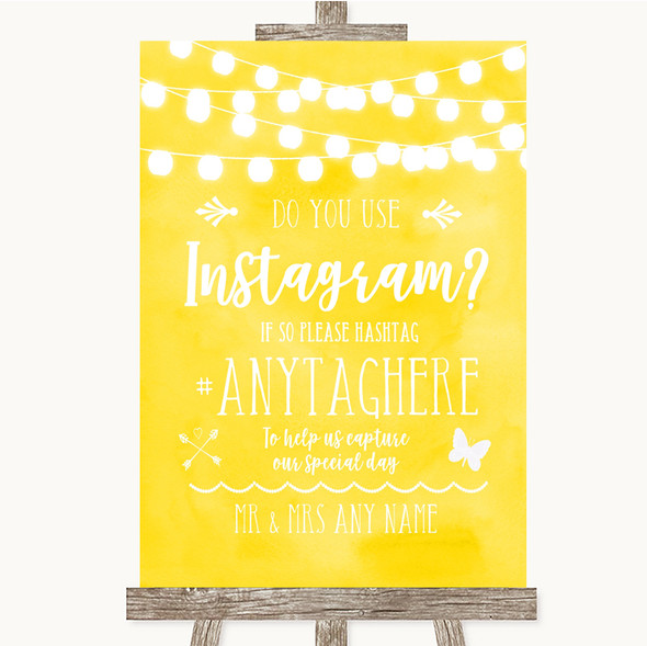 Yellow Watercolour Lights Instagram Photo Sharing Personalised Wedding Sign