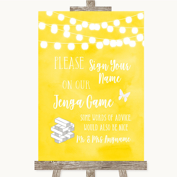 Yellow Watercolour Lights Jenga Guest Book Personalised Wedding Sign