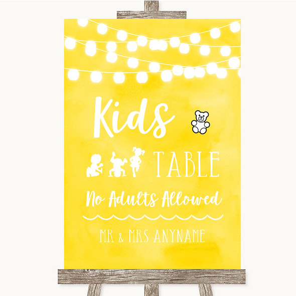 Yellow Watercolour Lights Kids Table Personalised Wedding Sign