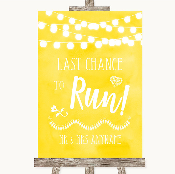 Yellow Watercolour Lights Last Chance To Run Personalised Wedding Sign