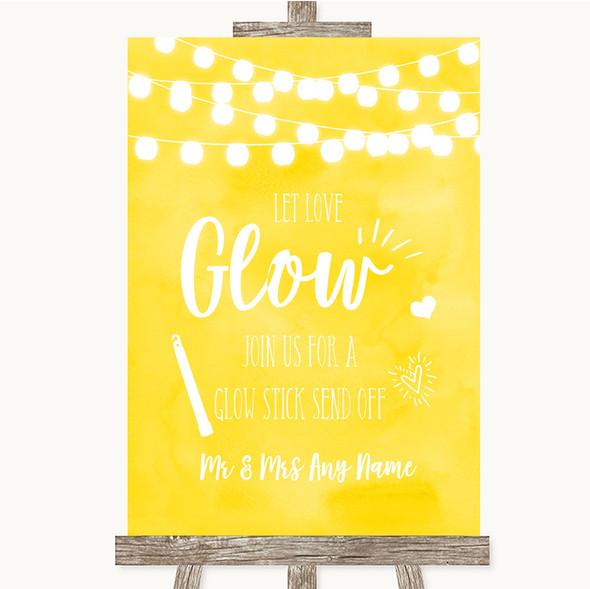 Yellow Watercolour Lights Let Love Glow Glowstick Personalised Wedding Sign