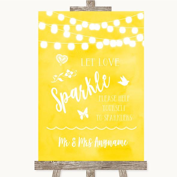 Yellow Watercolour Lights Let Love Sparkle Sparkler Send Off Wedding Sign