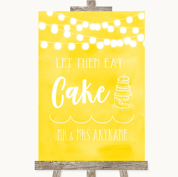 Yellow Watercolour Lights Let Them Eat Cake Personalised Wedding Sign