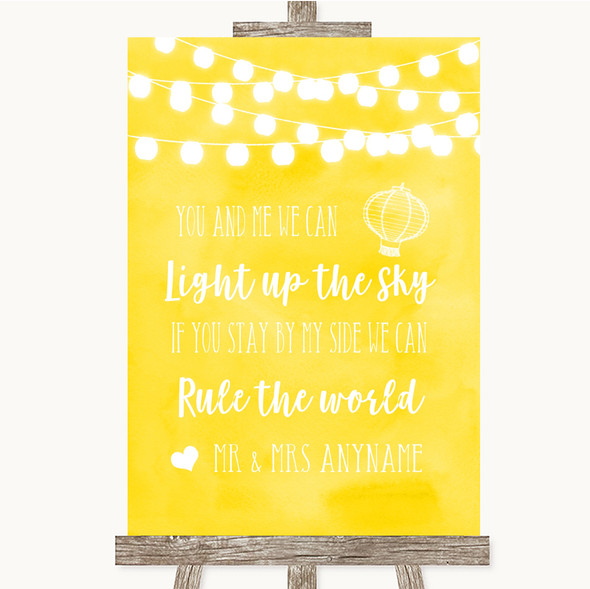 Yellow Watercolour Lights Light Up The Sky Rule The World Wedding Sign